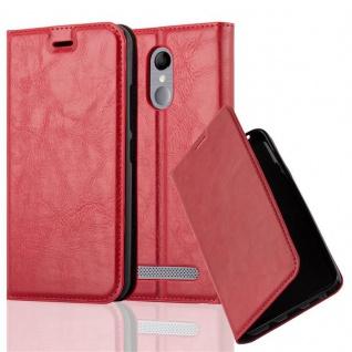 Cadorabo Hülle für ZTE BLADE A602 in APFEL ROT Handyhülle mit Magnetverschluss, Standfunktion und Kartenfach Case Cover Schutzhülle Etui Tasche Book Klapp Style