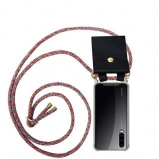 Cadorabo Handy Kette für Huawei P30 in COLORFUL PARROT Silikon Necklace Umhänge Hülle mit Gold Ringen, Kordel Band Schnur und abnehmbarem Etui Schutzhülle