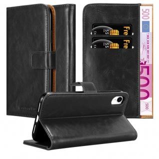 Cadorabo Hülle für Apple iPhone XR in GRAPHIT SCHWARZ - Handyhülle mit Magnetverschluss, Standfunktion und Kartenfach - Case Cover Schutzhülle Etui Tasche Book Klapp Style