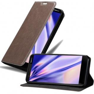 Cadorabo Hülle für Nokia 3.1 2018 in KAFFEE BRAUN - Handyhülle mit Magnetverschluss, Standfunktion und Kartenfach - Case Cover Schutzhülle Etui Tasche Book Klapp Style