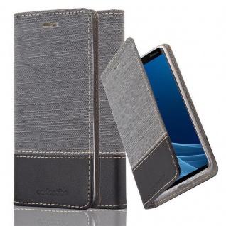 Cadorabo Hülle für Nokia 9 2018 in GRAU SCHWARZ Handyhülle mit Magnetverschluss, Standfunktion und Kartenfach Case Cover Schutzhülle Etui Tasche Book Klapp Style