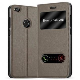 Cadorabo Hülle für Huawei P8 LITE 2017 in STEIN BRAUN - Handyhülle mit Magnetverschluss, Standfunktion und 2 Sichtfenstern - Case Cover Schutzhülle Etui Tasche Book Klapp Style