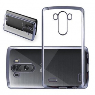 Cadorabo Hülle für LG G3 - Hülle in TRANSPARENT mit CHROM SCHWARZ ? Handyhülle aus TPU Silikon im Chrom Design - Silikonhülle Schutzhülle Ultra Slim Soft Back Cover Case Bumper