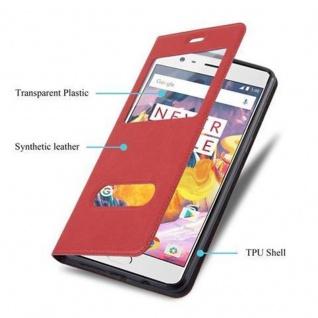 Cadorabo Hülle für OnePlus 3 / 3T in SAFRAN ROT - Handyhülle mit Magnetverschluss, Standfunktion und 2 Sichtfenstern - Case Cover Schutzhülle Etui Tasche Book Klapp Style - Vorschau 3