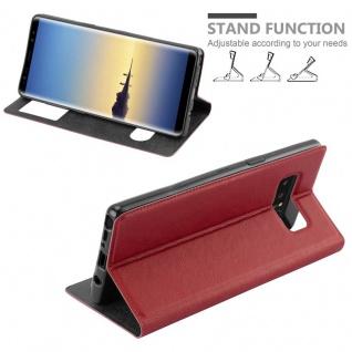 Cadorabo Hülle für Samsung Galaxy NOTE 8 in SAFRAN ROT - Handyhülle mit Magnetverschluss, Standfunktion und 2 Sichtfenstern - Case Cover Schutzhülle Etui Tasche Book Klapp Style - Vorschau 4
