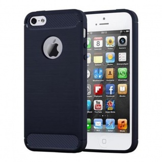 Cadorabo Hülle für Apple iPhone 5 / iPhone 5S / iPhone SE - Hülle in BRUSHED BLAU - Handyhülle aus TPU Silikon in Edelstahl-Karbonfaser Optik - Silikonhülle Schutzhülle Ultra Slim Soft Back Cover Case Bumper