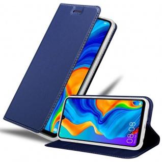 Cadorabo Hülle für Huawei P30 LITE in CLASSY DUNKEL BLAU - Handyhülle mit Magnetverschluss, Standfunktion und Kartenfach - Case Cover Schutzhülle Etui Tasche Book Klapp Style