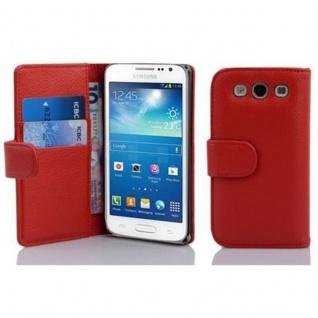 Cadorabo Hülle für Samsung Galaxy EXPRESS 2 in INFERNO ROT - Handyhülle aus strukturiertem Kunstleder mit Standfunktion und Kartenfach - Case Cover Schutzhülle Etui Tasche Book Klapp Style