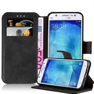 Cadorabo Hülle für Samsung Galaxy J5 2015 - Hülle in MATT SCHWARZ ? Handyhülle mit Standfunktion und Kartenfach im Retro Design - Case Cover Schutzhülle Etui Tasche Book Klapp Style