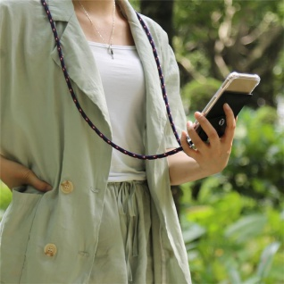 Cadorabo Handy Kette für Apple iPhone 8 PLUS / 7 PLUS / 7S PLUS in BLAU ROT WEISS GEPUNKTET Silikon Necklace Umhänge Hülle mit Silber Ringen, Kordel Band Schnur und abnehmbarem Etui Schutzhülle - Vorschau 4