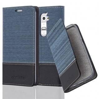 Cadorabo Hülle für LG G2 MINI in DUNKEL BLAU SCHWARZ - Handyhülle mit Magnetverschluss, Standfunktion und Kartenfach - Case Cover Schutzhülle Etui Tasche Book Klapp Style
