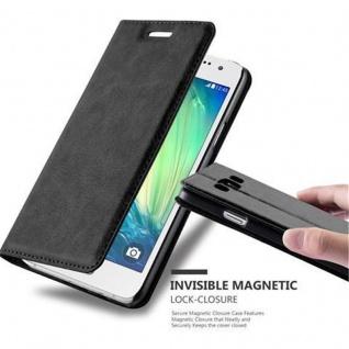 Cadorabo Hülle für Samsung Galaxy A3 2015 in NACHT SCHWARZ - Handyhülle mit Magnetverschluss, Standfunktion und Kartenfach - Case Cover Schutzhülle Etui Tasche Book Klapp Style