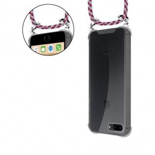 Cadorabo Handy Kette für Apple iPhone 8 PLUS / 7 PLUS / 7S PLUS in ROT WEISS - Silikon Necklace Umhänge Hülle mit Silber Ringen, Kordel Band Schnur und abnehmbarem Etui - Schutzhülle - Vorschau 5