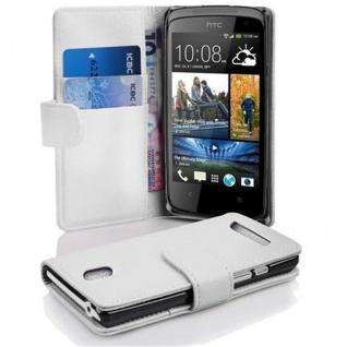 Cadorabo Hülle für HTC DESIRE 500 in MAGNESIUM WEIß ? Handyhülle aus strukturiertem Kunstleder mit Standfunktion und Kartenfach ? Case Cover Schutzhülle Etui Tasche Book Klapp Style