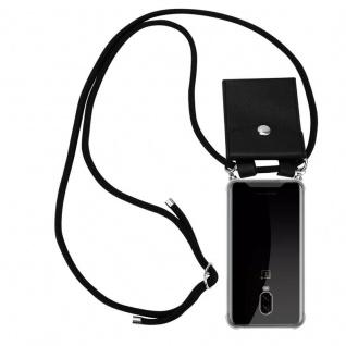 Cadorabo Handy Kette für OnePlus 6T in SCHWARZ Silikon Necklace Umhänge Hülle mit Silber Ringen, Kordel Band Schnur und abnehmbarem Etui Schutzhülle