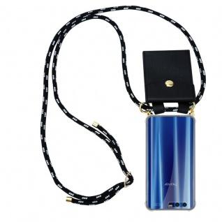 Cadorabo Handy Kette für Honor 9 in SCHWARZ SILBER - Silikon Necklace Umhänge Hülle mit Gold Ringen, Kordel Band Schnur und abnehmbarem Etui ? Schutzhülle
