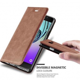 Cadorabo Hülle für Samsung Galaxy A3 2016 in CAPPUCCINO BRAUN - Handyhülle mit Magnetverschluss, Standfunktion und Kartenfach - Case Cover Schutzhülle Etui Tasche Book Klapp Style