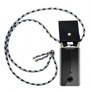Cadorabo Handy Kette für Motorola MOTO G7 / G7 PLUS in SCHWARZ CAMOUFLAGE Silikon Necklace Umhänge Hülle mit Gold Ringen, Kordel Band Schnur und abnehmbarem Etui Schutzhülle