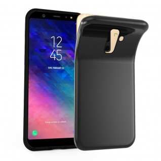 Cadorabo Hülle für Samsung Galaxy A6 PLUS 2018 in SCHWARZ - Handyhülle aus flexiblem TPU Silikon - Silikonhülle Schutzhülle Ultra Slim Soft Back Cover Case Bumper