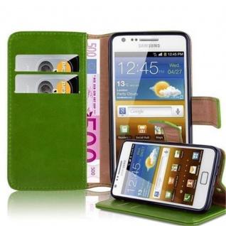 Cadorabo Hülle für Samsung Galaxy S2 / S2 PLUS in GRAS GRÜN ? Handyhülle mit Magnetverschluss, Standfunktion und Kartenfach ? Case Cover Schutzhülle Etui Tasche Book Klapp Style