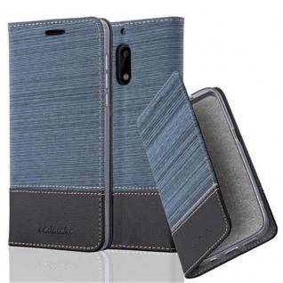 Cadorabo Hülle für Nokia 6 2017 in DUNKEL BLAU SCHWARZ - Handyhülle mit Magnetverschluss, Standfunktion und Kartenfach - Case Cover Schutzhülle Etui Tasche Book Klapp Style