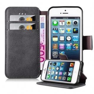 Cadorabo Hülle für Apple iPhone 5 / iPhone 5S / iPhone SE - Hülle in MATT GRAU - Handyhülle mit Standfunktion und Kartenfach im Retro Design - Case Cover Schutzhülle Etui Tasche Book Klapp Style