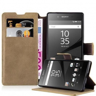 Cadorabo Hülle für Sony Xperia Z5 - Hülle in MATT SAND BRAUN ? Handyhülle mit Standfunktion und Kartenfach im Retro Design - Case Cover Schutzhülle Etui Tasche Book Klapp Style