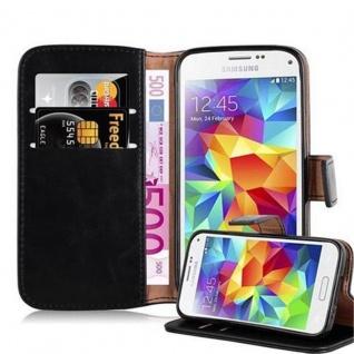 Cadorabo Hülle für Samsung Galaxy S5 MINI / S5 MINI DUOS in GRAPHIT SCHWARZ Handyhülle mit Magnetverschluss, Standfunktion und Kartenfach Case Cover Schutzhülle Etui Tasche Book Klapp Style