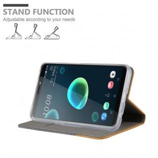 Cadorabo Hülle für HTC Desire 12 PLUS in HELL GRAU BRAUN - Handyhülle mit Magnetverschluss, Standfunktion und Kartenfach - Case Cover Schutzhülle Etui Tasche Book Klapp Style - Vorschau 4