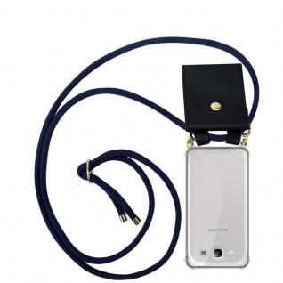 Cadorabo Handy Kette für Samsung Galaxy S3 / S3 NEO in TIEF BLAU - Silikon Necklace Umhänge Hülle mit Gold Ringen, Kordel Band Schnur und abnehmbarem Etui ? Schutzhülle