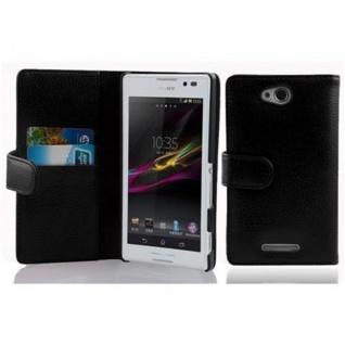 Cadorabo Hülle für Sony Xperia C in OXID SCHWARZ - Handyhülle aus strukturiertem Kunstleder mit Standfunktion und Kartenfach - Case Cover Schutzhülle Etui Tasche Book Klapp Style