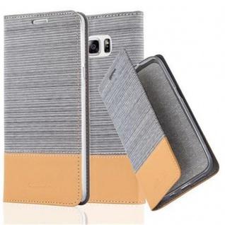 Cadorabo Hülle für Samsung Galaxy NOTE 5 - Hülle in HELL GRAU BRAUN ? Handyhülle mit Standfunktion und Kartenfach im Stoff Design - Case Cover Schutzhülle Etui Tasche Book