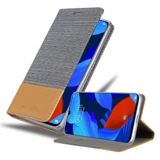 Cadorabo Hülle für Huawei NOVA 5 / 5 PRO in HELL GRAU BRAUN - Handyhülle mit Magnetverschluss, Standfunktion und Kartenfach - Case Cover Schutzhülle Etui Tasche Book Klapp Style