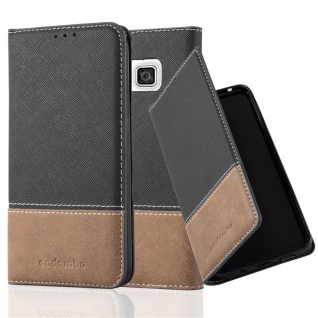 Cadorabo Hülle für Samsung Galaxy ALPHA in SCHWARZ BRAUN ? Handyhülle mit Magnetverschluss, Standfunktion und Kartenfach ? Case Cover Schutzhülle Etui Tasche Book Klapp Style