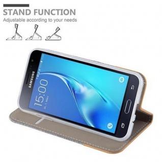 Cadorabo Hülle für Samsung Galaxy J3 2016 in HELL GRAU BRAUN - Handyhülle mit Magnetverschluss, Standfunktion und Kartenfach - Case Cover Schutzhülle Etui Tasche Book Klapp Style - Vorschau 4
