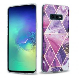 Cadorabo Hülle für Samsung Galaxy S10 Hülle in Lila Welle Marmor No.14 Handyhülle aus TPU Silikon mit Muster Mosaik Silikonhülle Schutzhülle Ultra Slim Back Cover Case Bumper