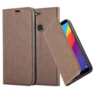 Cadorabo Hülle für Honor 7C in KAFFEE BRAUN - Handyhülle mit Magnetverschluss, Standfunktion und Kartenfach - Case Cover Schutzhülle Etui Tasche Book Klapp Style