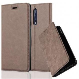 Cadorabo Hülle für Nokia 8 2017 in KAFFEE BRAUN Handyhülle mit Magnetverschluss, Standfunktion und Kartenfach Case Cover Schutzhülle Etui Tasche Book Klapp Style