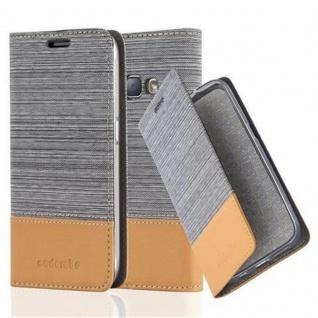Cadorabo Hülle für Samsung Galaxy J1 2016 in HELL GRAU BRAUN - Handyhülle mit Magnetverschluss, Standfunktion und Kartenfach - Case Cover Schutzhülle Etui Tasche Book Klapp Style