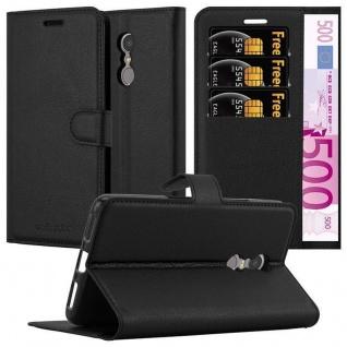 Cadorabo Hülle für Lenovo K6 NOTE in PHANTOM SCHWARZ - Handyhülle mit Magnetverschluss, Standfunktion und Kartenfach - Case Cover Schutzhülle Etui Tasche Book Klapp Style