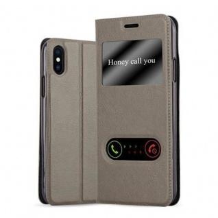 Cadorabo Hülle für Apple iPhone X / XS in STEIN BRAUN - Handyhülle mit Magnetverschluss, Standfunktion und 2 Sichtfenstern - Case Cover Schutzhülle Etui Tasche Book Klapp Style
