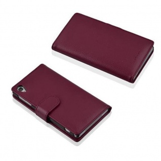 Cadorabo Hülle für Sony Xperia Z1 in BORDEAUX LILA - Handyhülle aus strukturiertem Kunstleder mit Standfunktion und Kartenfach - Case Cover Schutzhülle Etui Tasche Book Klapp Style - Vorschau 3