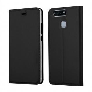 Cadorabo Hülle für Huawei P9 in CLASSY SCHWARZ - Handyhülle mit Magnetverschluss, Standfunktion und Kartenfach - Case Cover Schutzhülle Etui Tasche Book Klapp Style