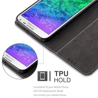 Cadorabo Hülle für Samsung Galaxy ALPHA in SCHWARZ BRAUN ? Handyhülle mit Magnetverschluss, Standfunktion und Kartenfach ? Case Cover Schutzhülle Etui Tasche Book Klapp Style - Vorschau 4