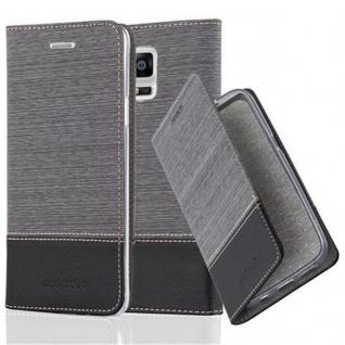 Cadorabo Hülle für Samsung Galaxy NOTE 4 - Hülle in GRAU SCHWARZ ? Handyhülle mit Standfunktion und Kartenfach im Stoff Design - Case Cover Schutzhülle Etui Tasche Book