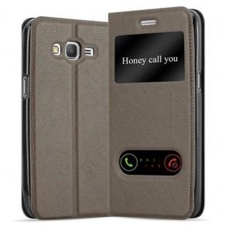 Cadorabo Hülle für Samsung Galaxy GRAND PRIME in STEIN BRAUN - Handyhülle mit Magnetverschluss, Standfunktion und 2 Sichtfenstern - Case Cover Schutzhülle Etui Tasche Book Klapp Style