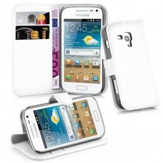 Cadorabo Hülle für Samsung Galaxy TREND PLUS in ARKTIS WEIß - Handyhülle mit Magnetverschluss, Standfunktion und Kartenfach - Case Cover Schutzhülle Etui Tasche Book Klapp Style