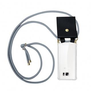 Cadorabo Handy Kette für Samsung Galaxy NOTE 5 in SILBER GRAU - Silikon Necklace Umhänge Hülle mit Gold Ringen, Kordel Band Schnur und abnehmbarem Etui ? Schutzhülle