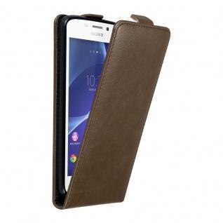 Cadorabo Hülle für Sony Xperia M2 / M2 AQUA in KAFFEE BRAUN - Handyhülle im Flip Design mit unsichtbarem Magnetverschluss - Case Cover Schutzhülle Etui Tasche Book Klapp Style