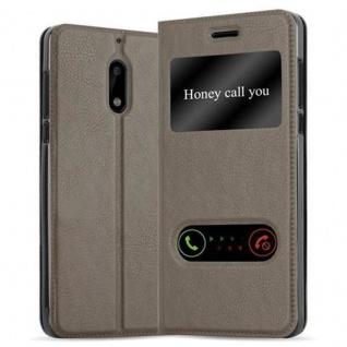 Cadorabo Hülle für Nokia 6 2017 in STEIN BRAUN - Handyhülle mit Magnetverschluss, Standfunktion und 2 Sichtfenstern - Case Cover Schutzhülle Etui Tasche Book Klapp Style